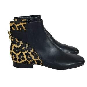MICHAEL KORS NWT Mira Black Leather Leopard Print Ankle Booties Size 7.5